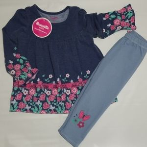 NWT Nannette Kids Flower Tunic Legging Set